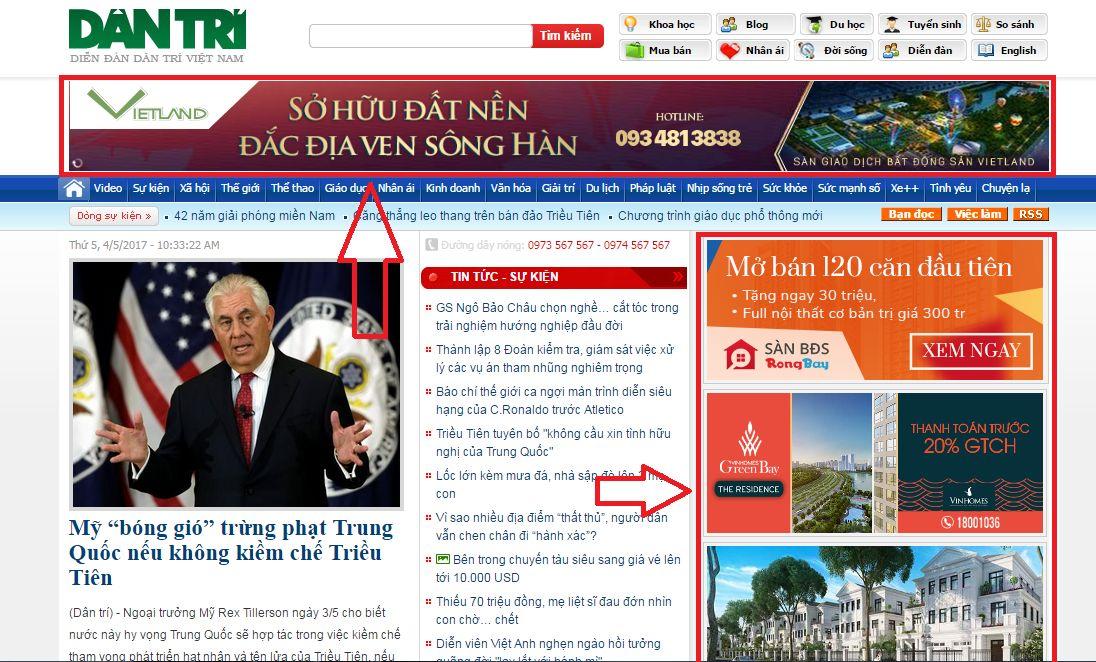 quảng cáo trên báo điện tử